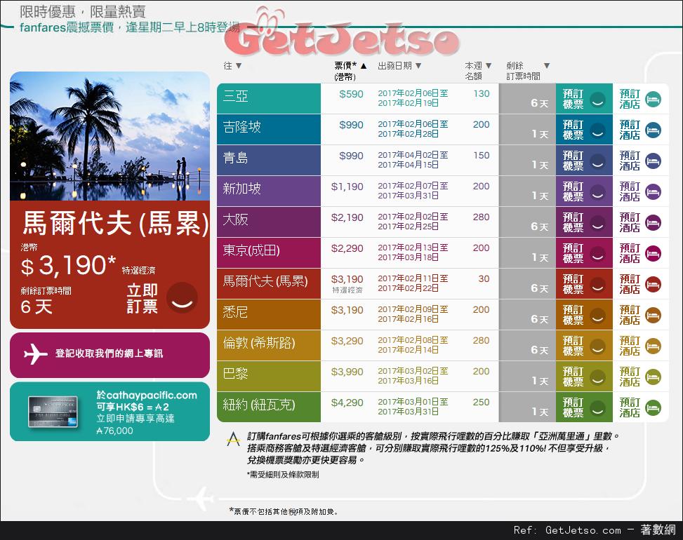 國泰航空fanfares震撼價機票優惠(至17年1月29日)圖片1