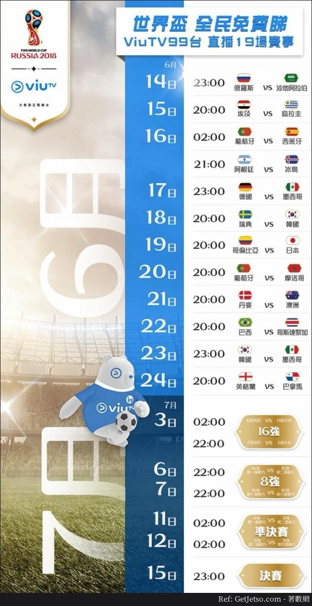 2018世界盃ViuTV免費直播19場、直播賽事商場、賽程時間表